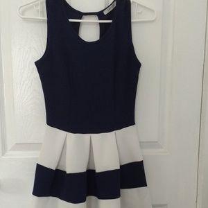 Papaya Blue & White Sheath Dress